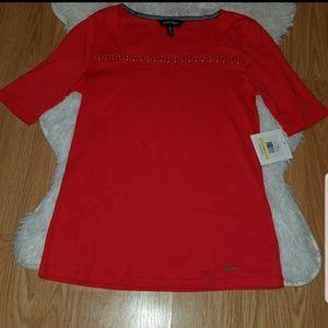 NWT Ellen Tracy Top Medium Knit Red Short Sleeve